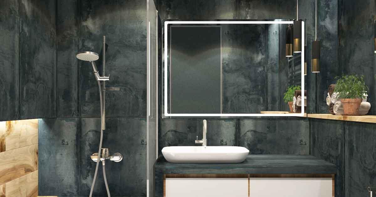 Ein Spiegelschrank im Badezimmer